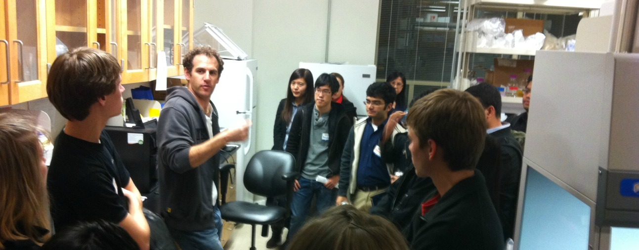 Adam Chervin of biotech startup Immuven speaks to students at the Research Park Student Open House on Nov. 8, 2012.