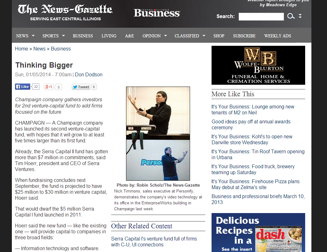 News-Gazette article featuring Serra Ventures and other startups
