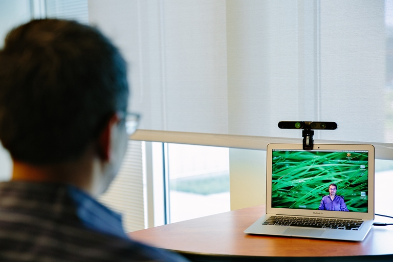 Personify CEO, Sanjay Patel, shows how his Immersive Video Chat works.