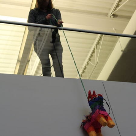 Pinata being lowered for the kids