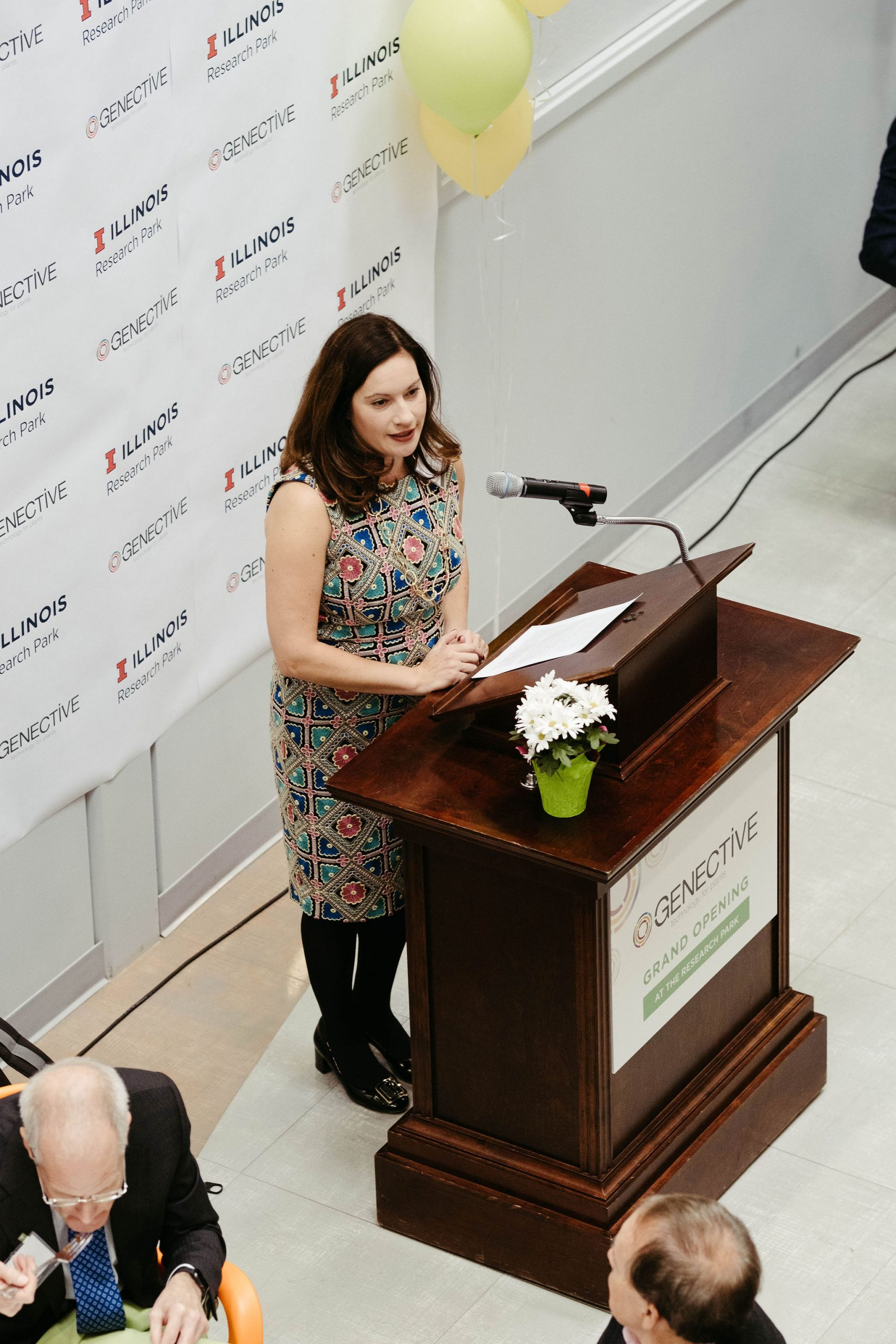 Laura Frerichs gives a talk at the Genective Grand Opening