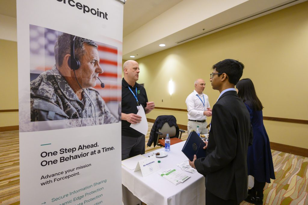 Students talk to Forcepoint recruiters