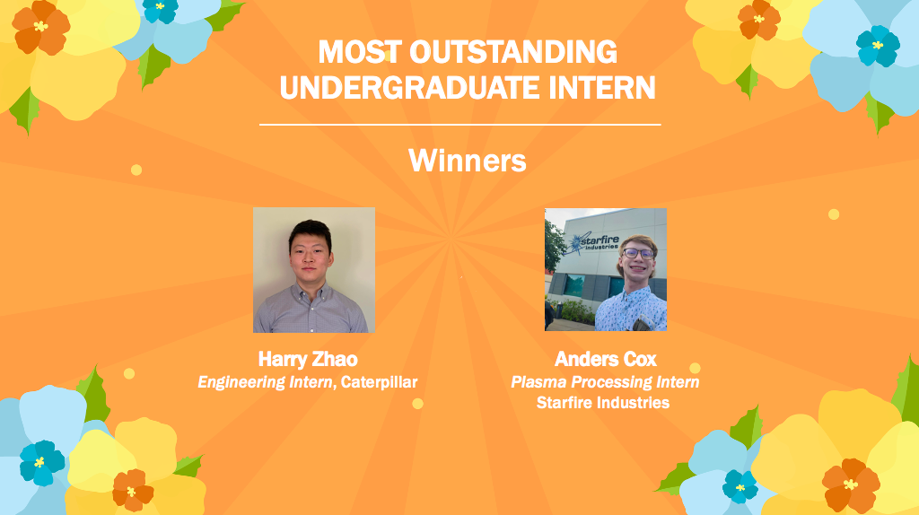 Harry Zhao and Anders Cox, Most Outstanding Undergraduate Intern Winners